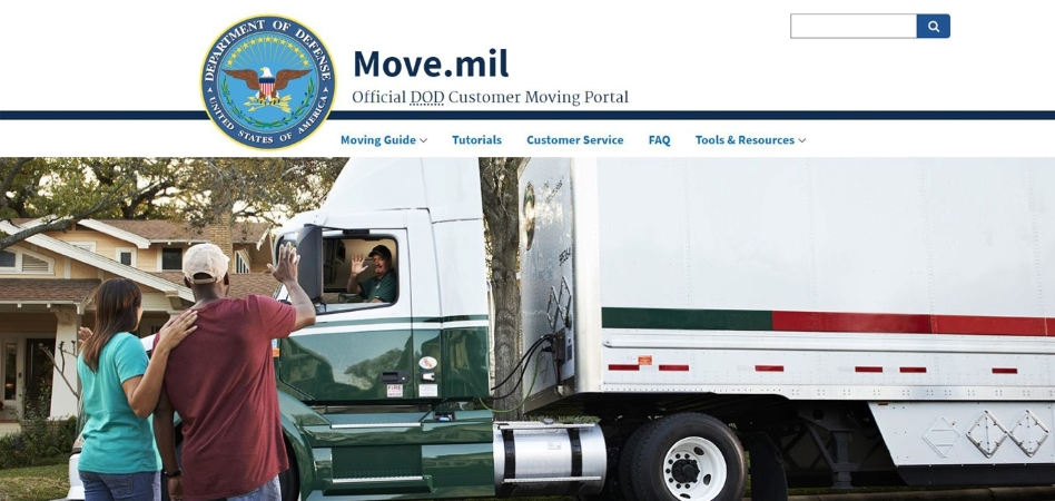 move.mil homepage image of military couple and moving truck