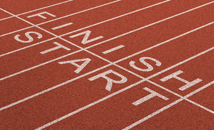 Start and finish line on athletics track