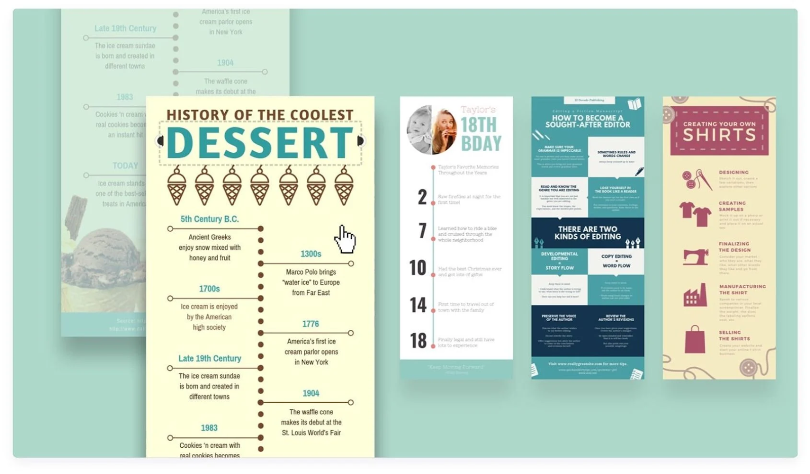 Image of timeline infographic examples in Canva