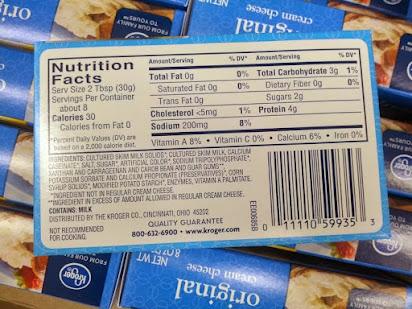 Kroger fat free cream cheese nutrition