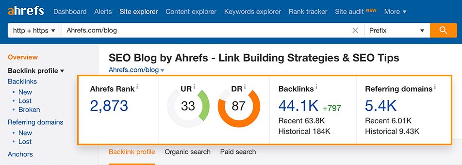 Sử dụng Ahrefs để check backlink