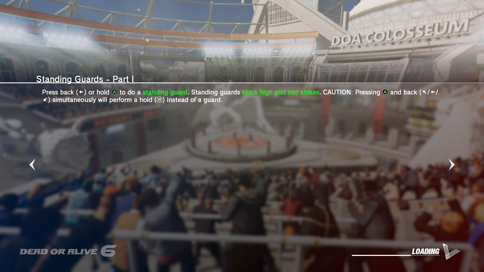 A picture of a combat stadium with text giving a confusing tip of gameplay controls