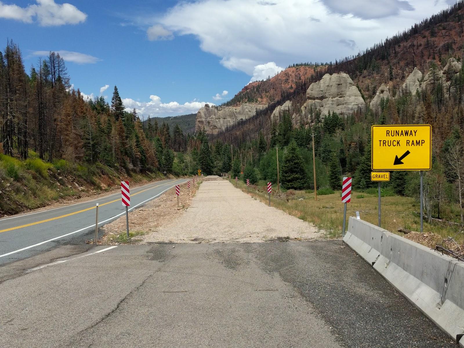 Climbing Hwy 143 by bike - runaway truck ramp sign
