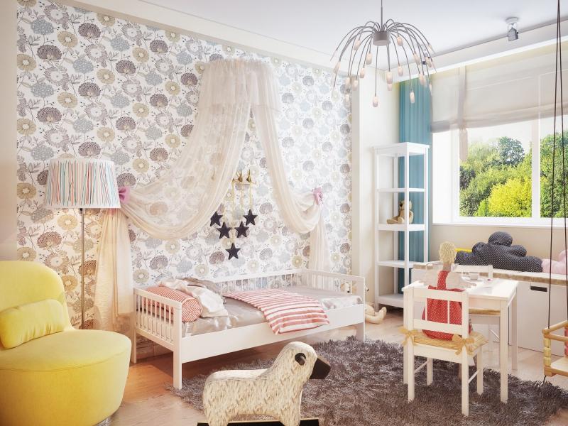 Обои в интерьере комнаты ребенка с цветами