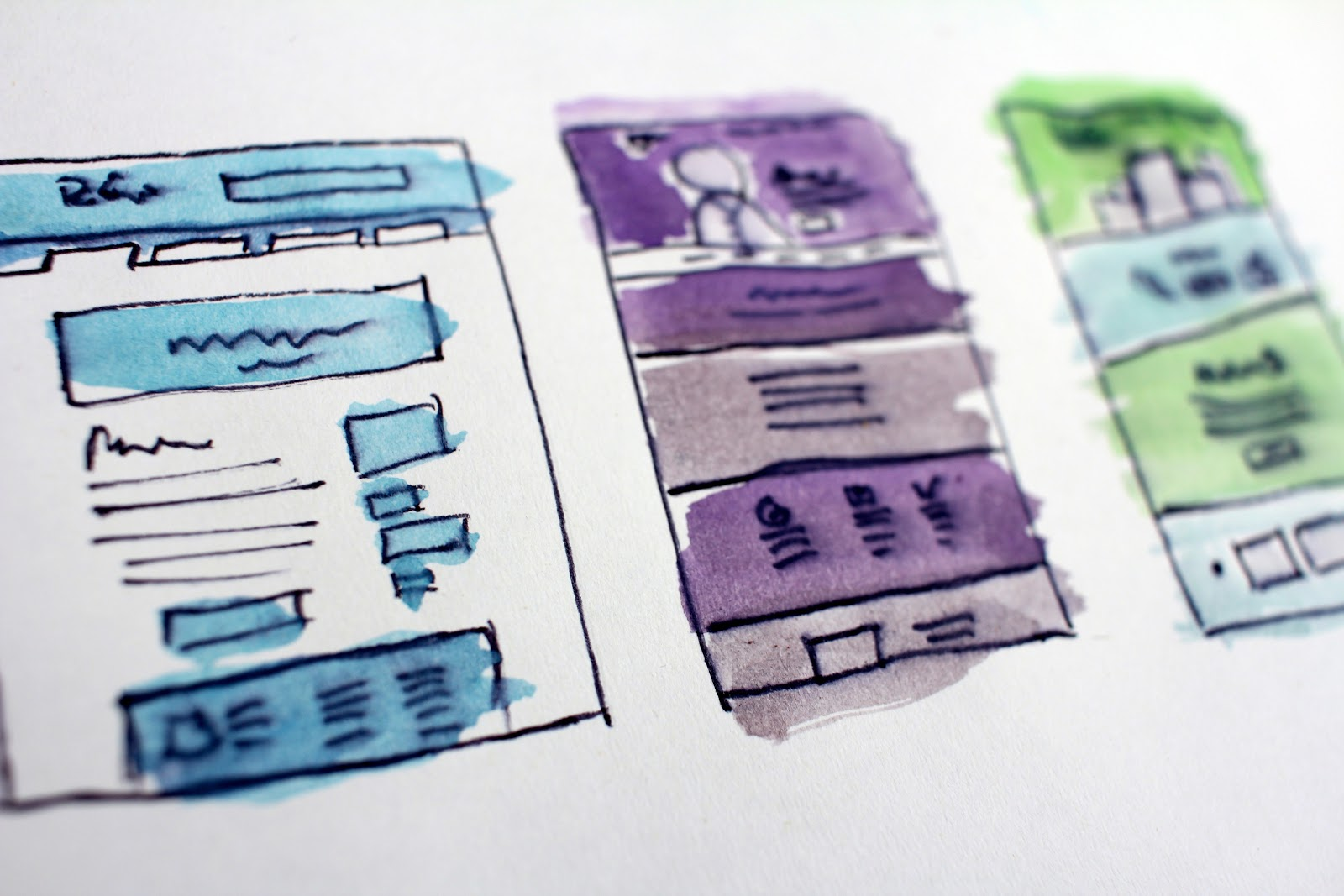 sketches of website layouts