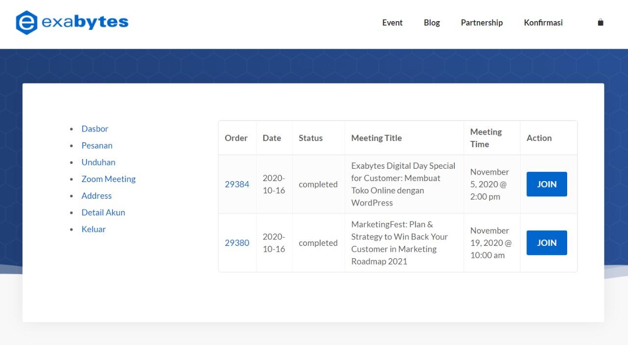 Setelah order di website Event Exabytes, kamu bisa langsung Join ke Zoom