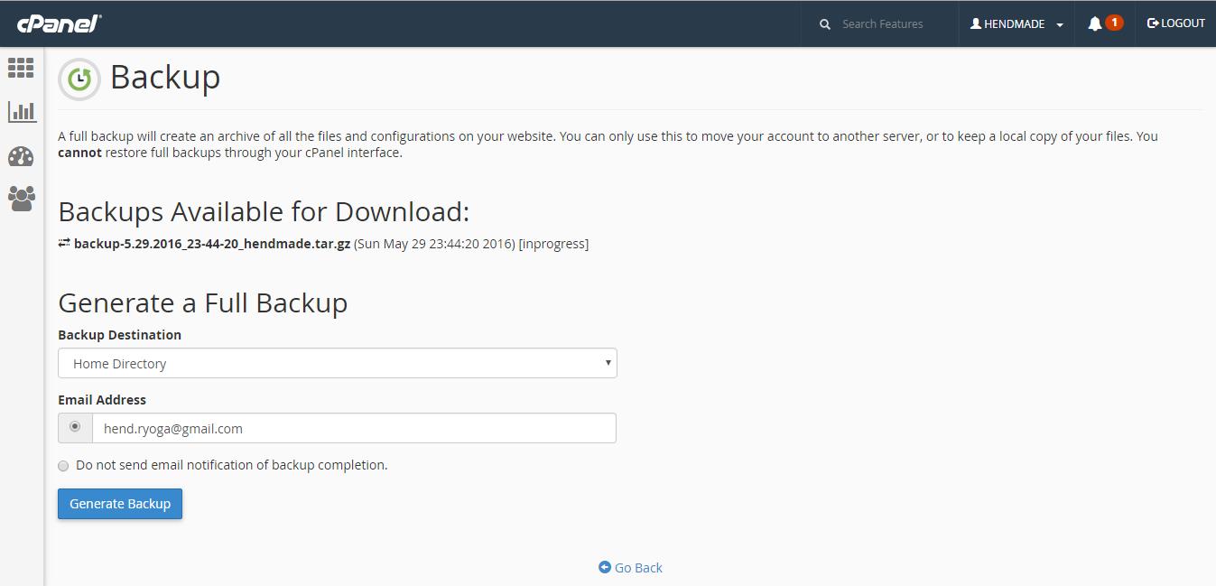 backup account hosting melalui cpanel