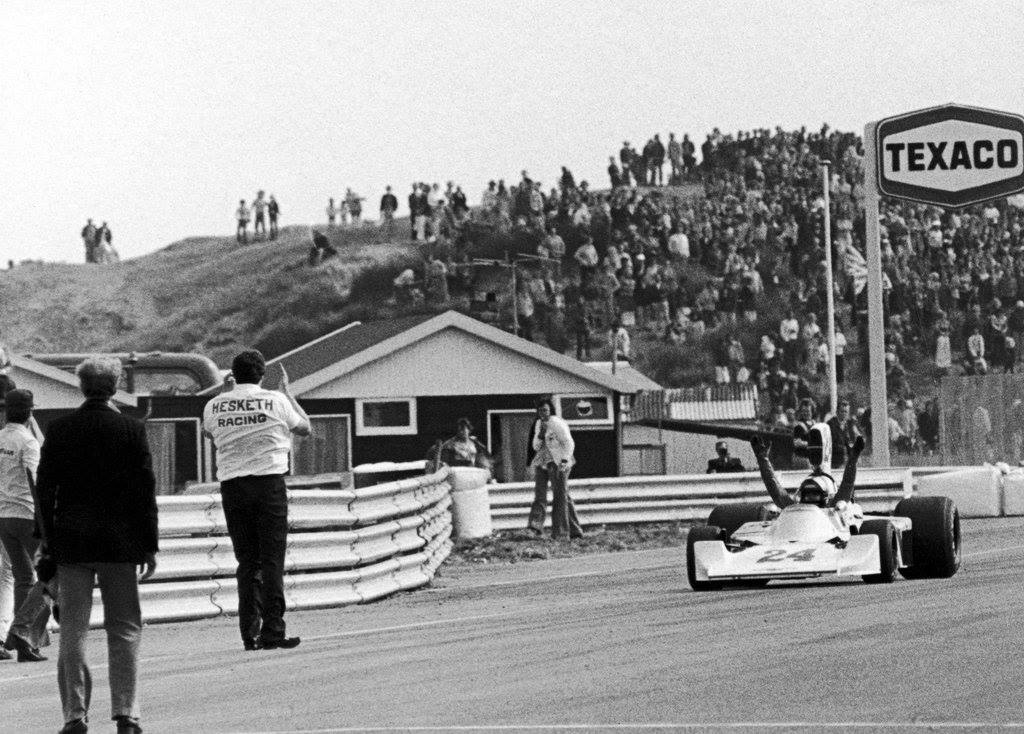 Lord Hesketh applauding a victorious James Hunt at the end of the 1975 Dutch Grand Prix. Credit: unknown.