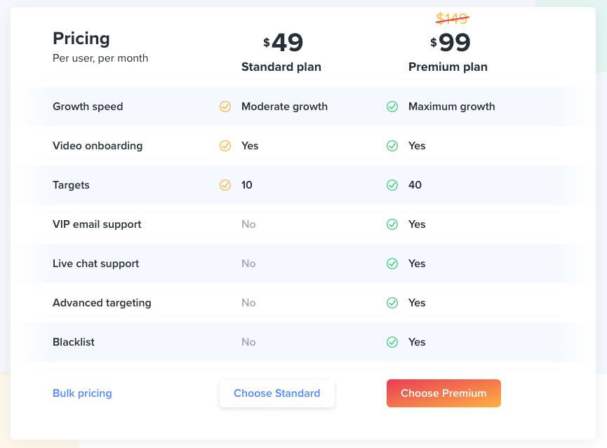 Kicksta pricing plan