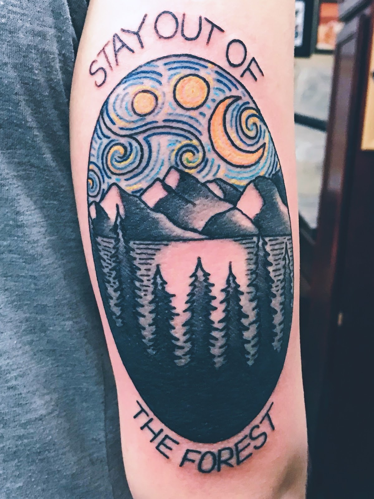 Stay out of the forest tattoo.