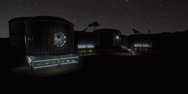 Đêm về ở khu sinh sống nhân tạo của các phi hành gia.