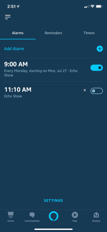 Alarms in the Alexa App
