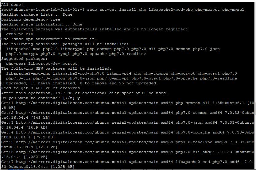 Install PHP in the digital ocean or ubuntu