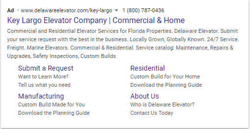 Google Search Result Ad- Key Largo Elevator Company