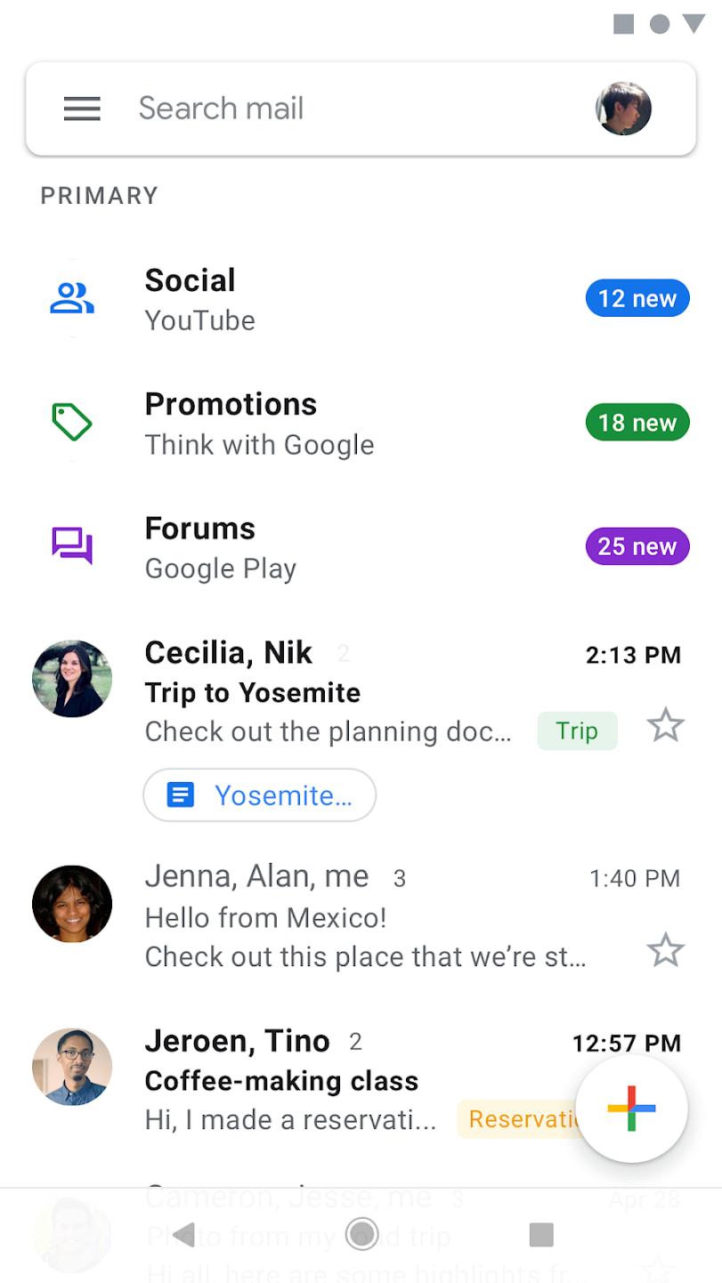 hamburger button example: gmail app