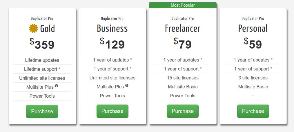 duplicator wordpress migration plugin pricing