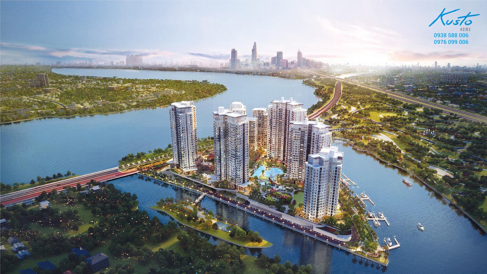 Phối cảnh tổng thể dự án căn hộ Đảo Kim Cương - Diamond Island quận 2.