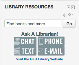 Library resources block without a research guide.