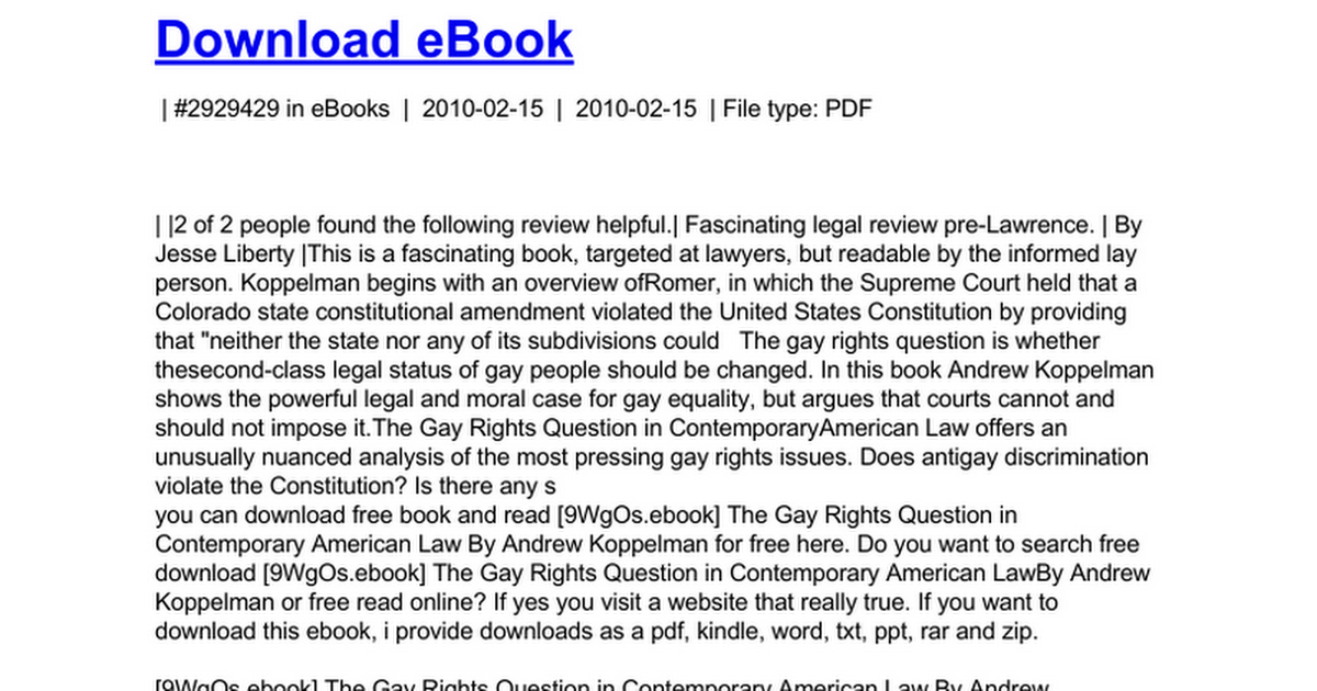 the gay rights question in contemporary american law koppelman andrew