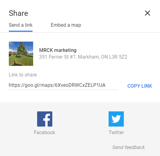 A link to your Google My Business page which you can share to others.
