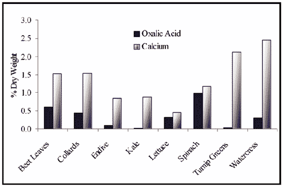 Oxalic acid and calcium content of greens
