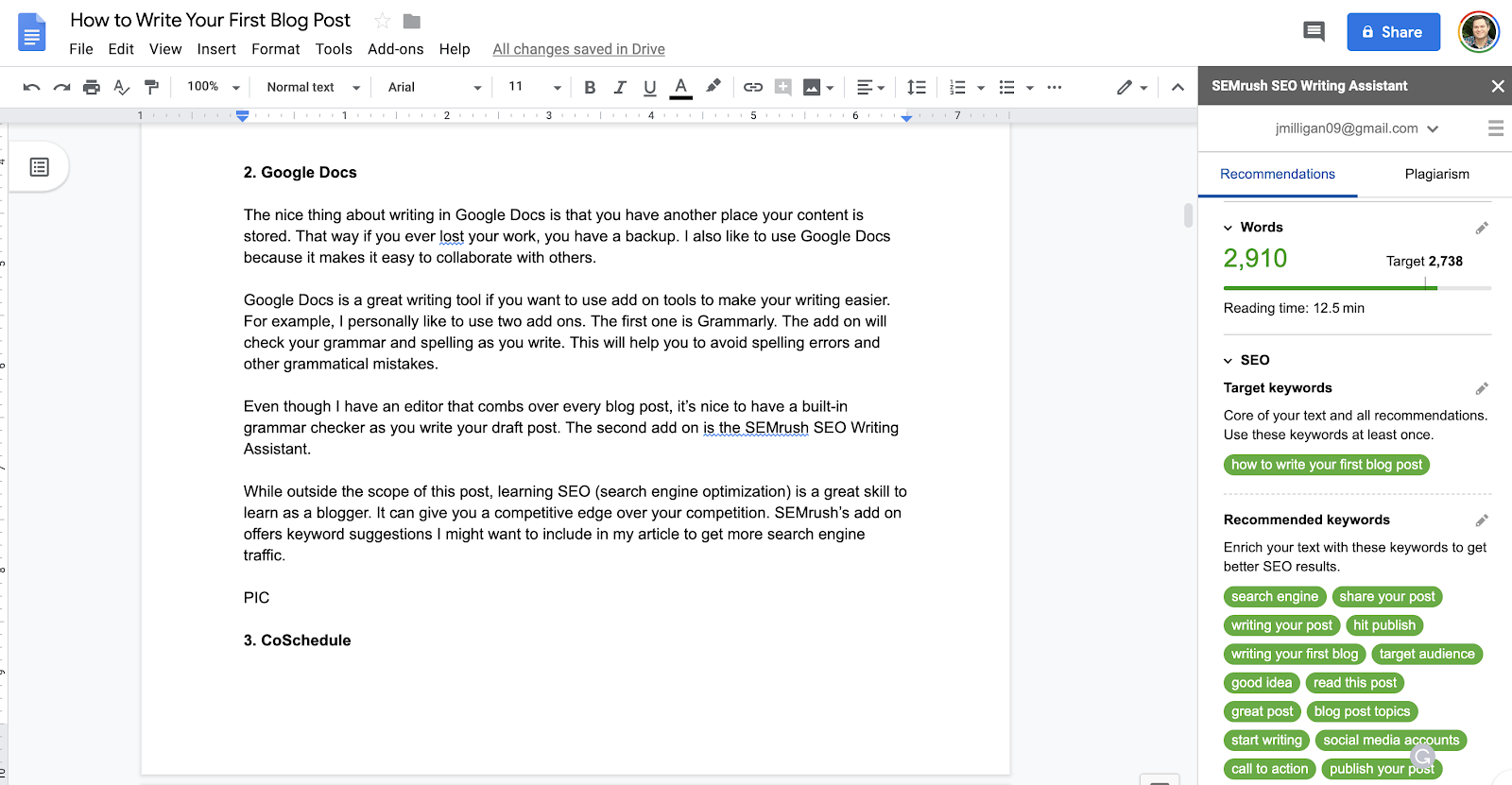 Using Google Docs to Write Blog Posts