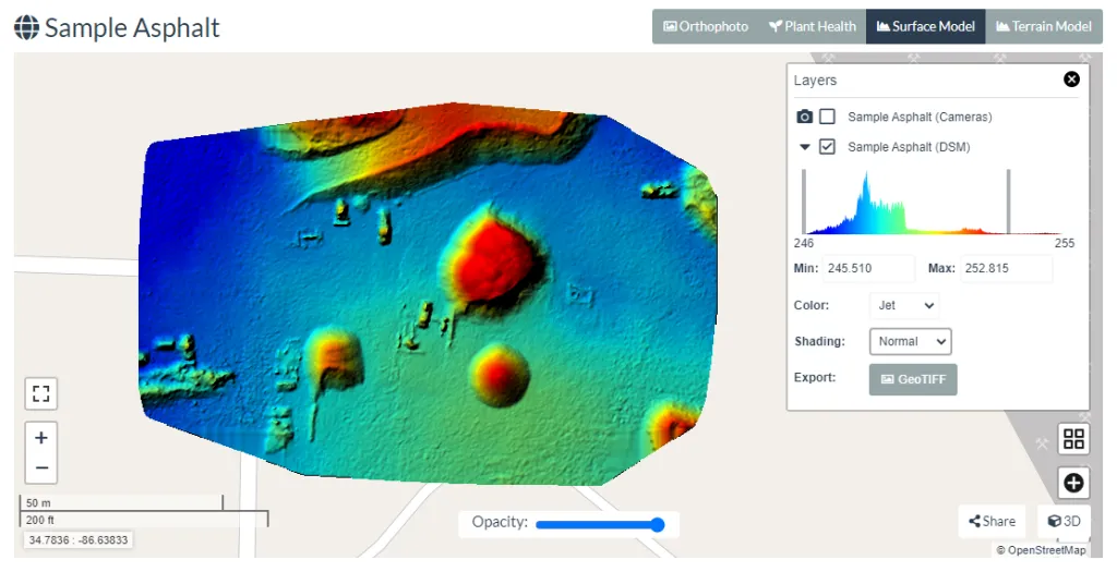 Digital Elevation Model on WebODM