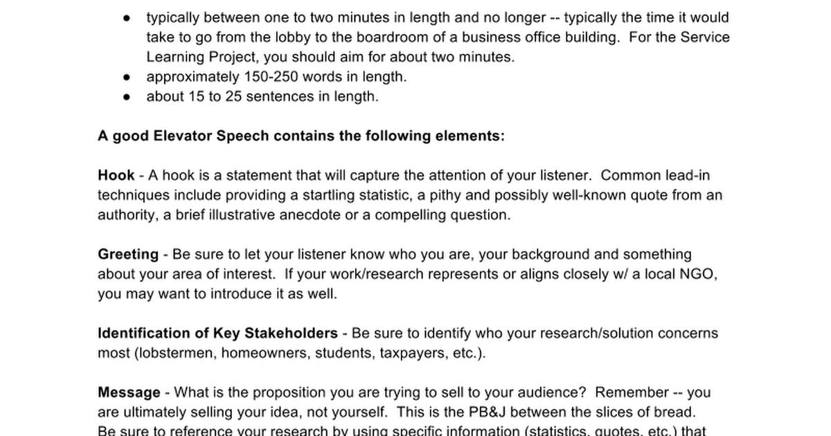 Elevator speech graphic organizer google docs m4hsunfo