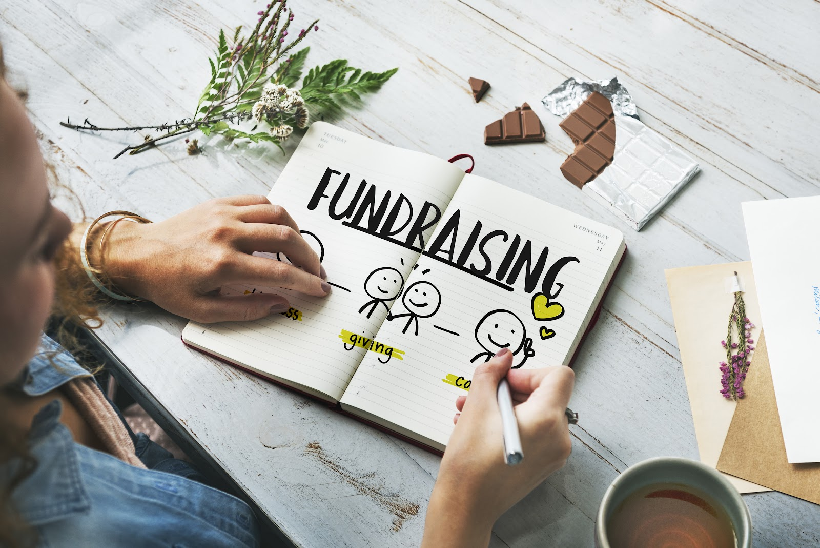 nonprofit fundraising: woman drawing about fundraising