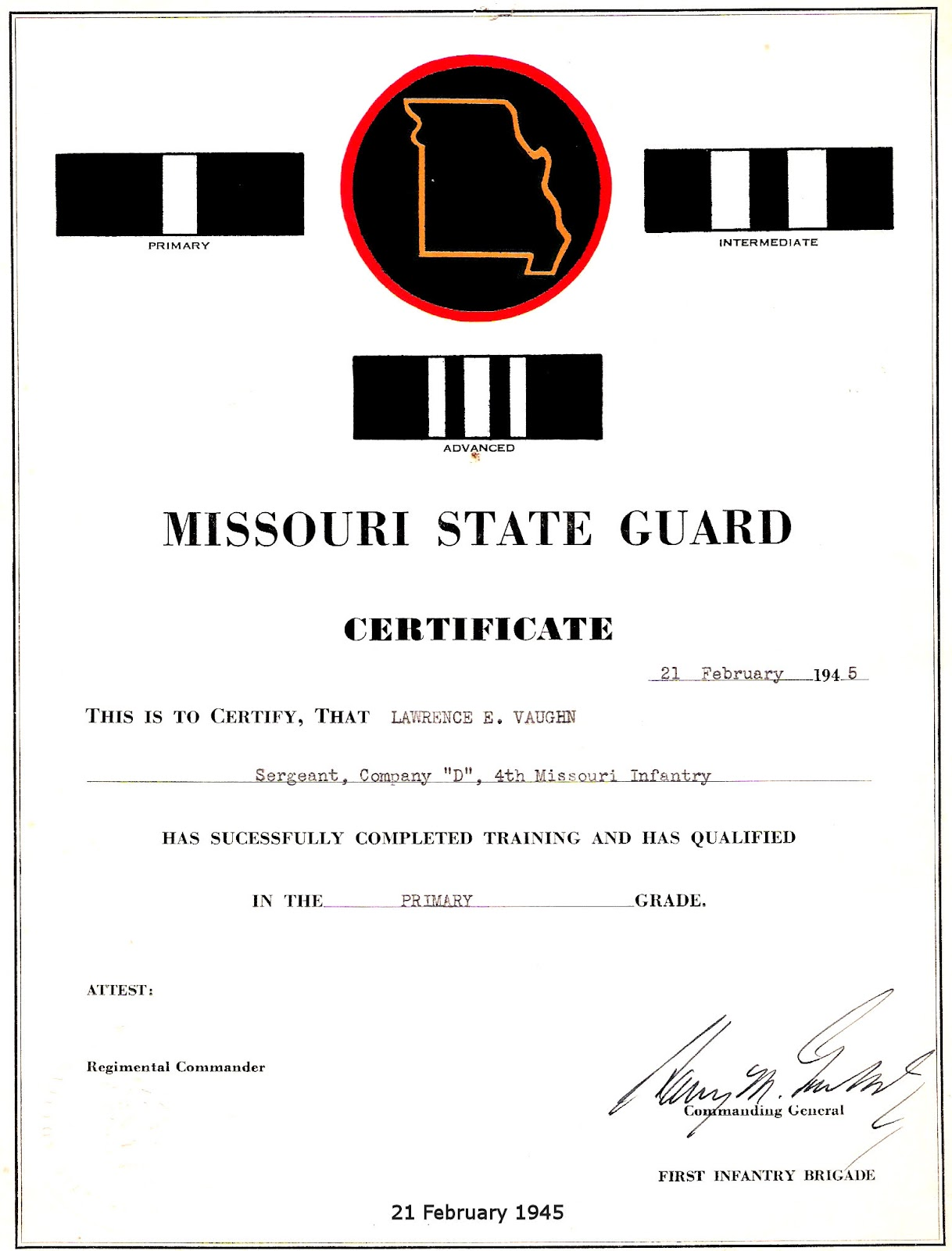 Mo State Guard Cert School 1945.jpg