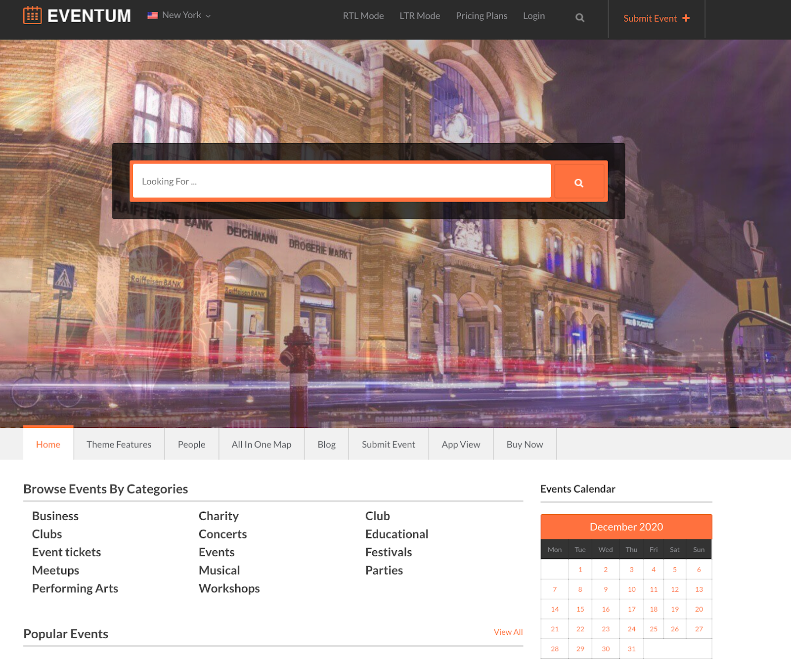 directory theme for booking events and taking payments