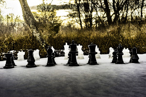 Large outdoor chess set in the snow
