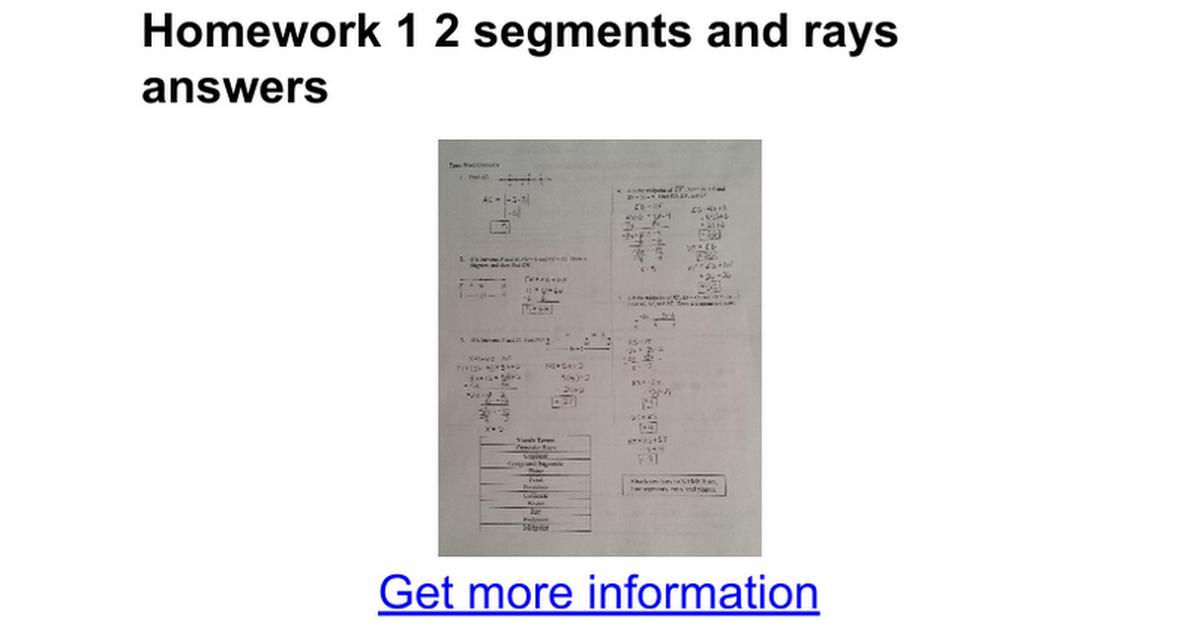 Printable Worksheets measuring line segments worksheets : Homework 1 2 segments and rays answers - Google Docs