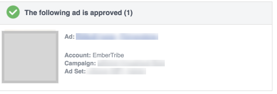 Facebook ad approved