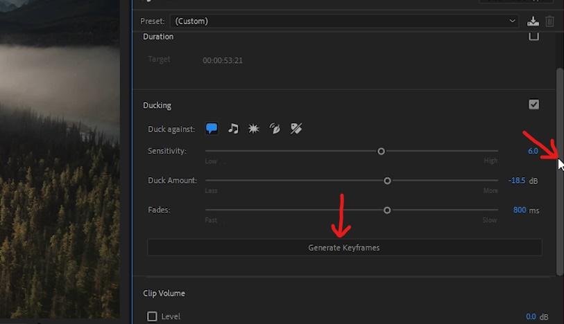 Premiere Pro - Select 'Generate Keyframes'