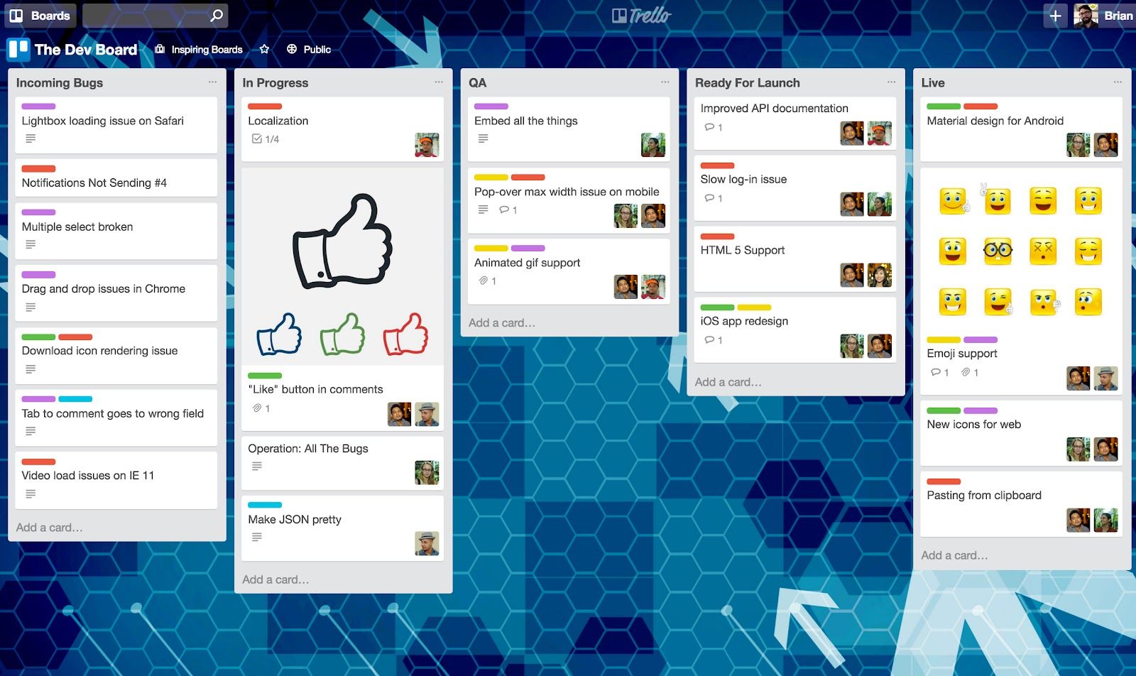 Online brainstorming tool for students: Trello