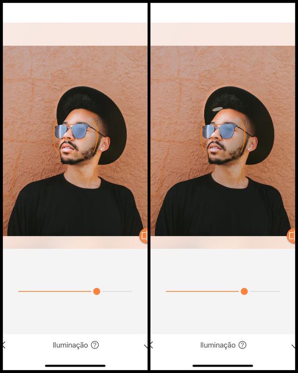 foto de um homem negro com óculos de sol e chapéu  sendo editada pelo AirBrush