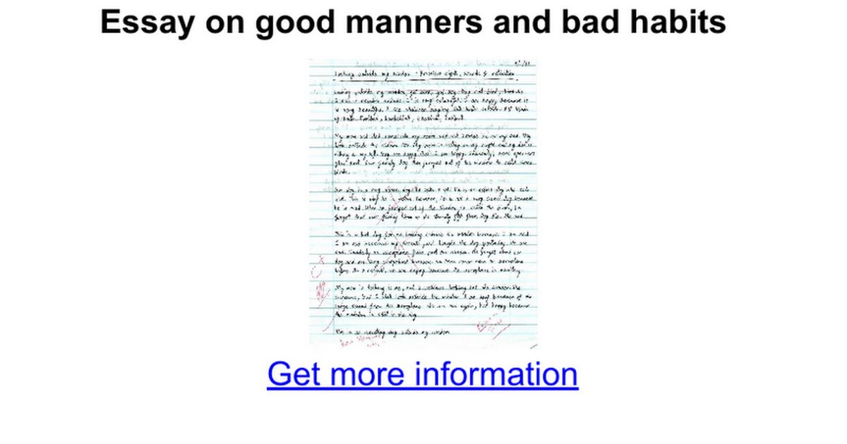 Essay bad manners