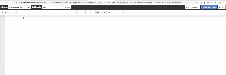 painel de editor de código robot.txt
