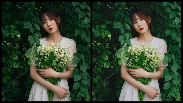Montagem de duas fotos usando a mesma mulher segurando um buquê de flores, com um vestido florido e em um fundo com várias plantas. Foto 1 sem edições e foto 2 usando o Filtro SI-2