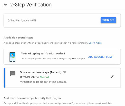 two-factor authentication in gmail