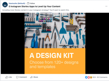 Image of Hootsuite's Facebook video ad