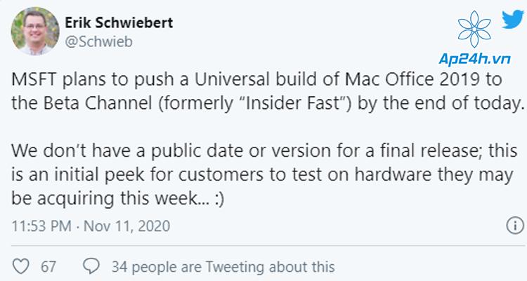 Microsoft phát hành bản beta Office cho Mac