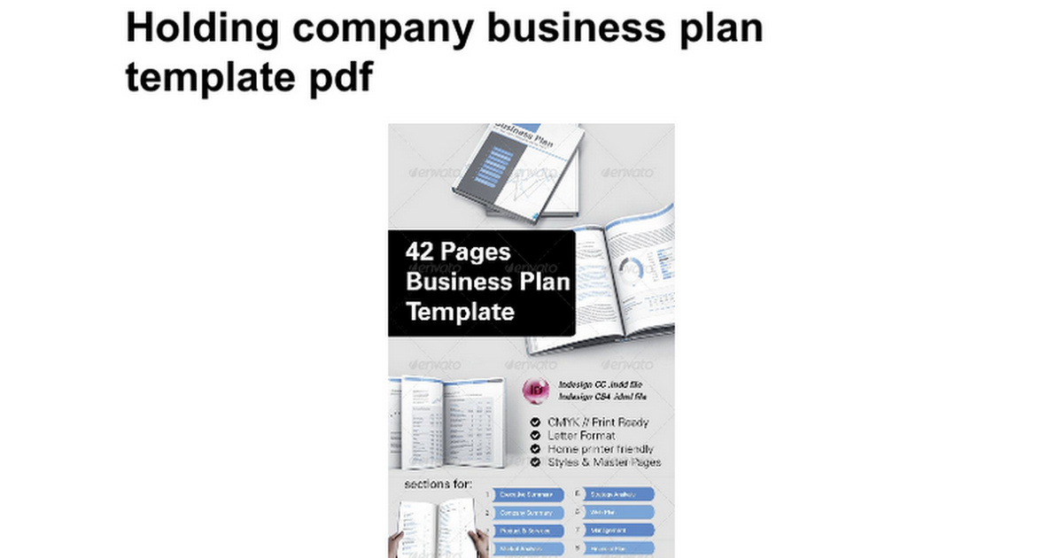 Holding company business plan template pdf google docs flashek Images