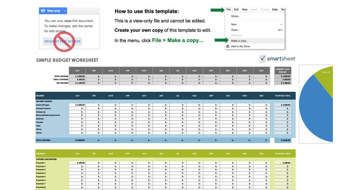 Simple Budget Worksheet Google Sheet Template Google Sheets