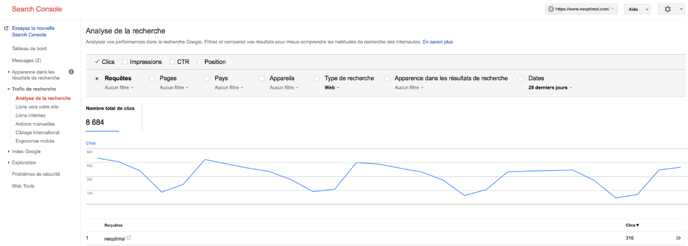 capture écran search console google