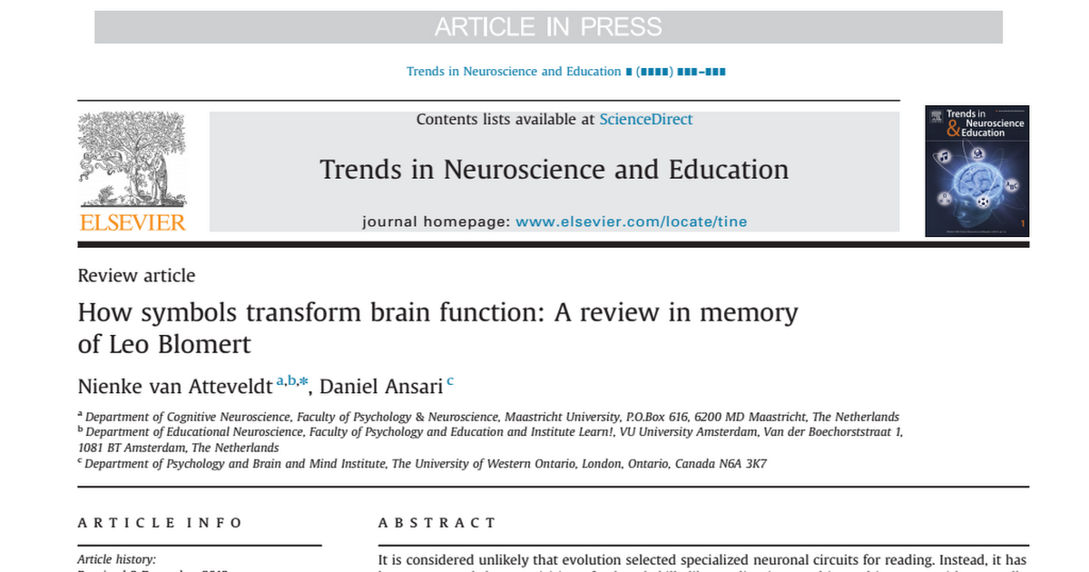 How Symbols Transform Brain Function A Review In Memory Of Leo