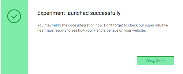 Code verification pop-up