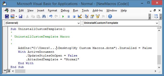 code to uninstall a custom template