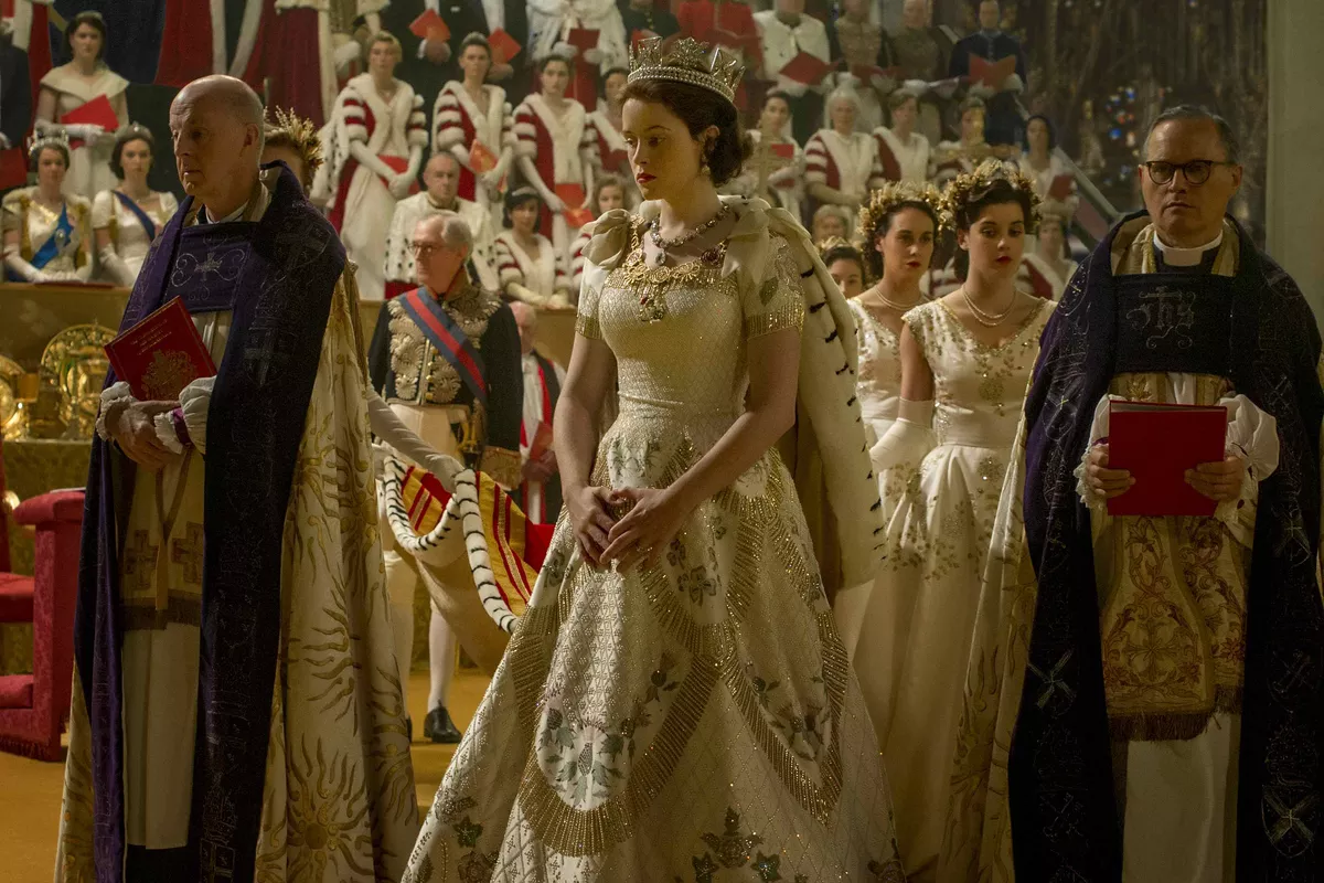 The Crown coronation scene
